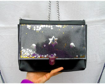 Shoulder bag in black with glitter and sequins shakerabili