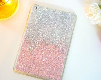 Silver Pink glitter ipad mini 2 case ipad mini cases ipad case ipad cover ipad mini cover tablet case ipad mini sleeve mini ipad case gift