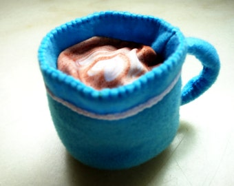 Coffee latte or americano felt toy for your modern toy kitchen, felt play food for pretend play