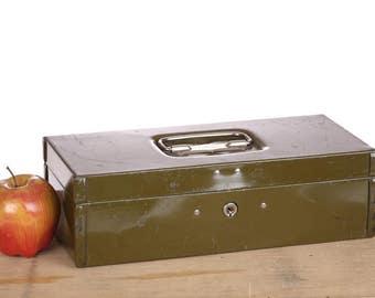 Green Metal Box - Mid Century - Industrial - Parplus West Haven Connecticut - Rustic Industrial Decor