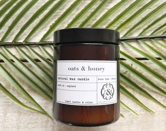 Oats & Honey Pharmacy Jar, Scented candle, Natural Wax Candle, Made in England, Hand Poured
