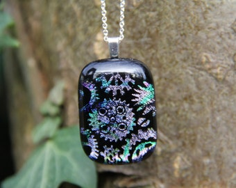 Pastel Steampunk gears dichroic glass  pendant, dichroic glass necklace,  fused glass, glass pendant, steampunk necklace ,gears,  dichroic,