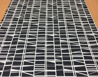 Black and white table runner, geometric motif, modern style, home decor, great gift