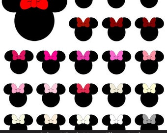 100 Colors Minnie Mouse Clipart - Disney, Mouse Ears, Mickey, Birthday, Club, Girly, Large, Silhouette, Transparent, Printable, Pink, Red