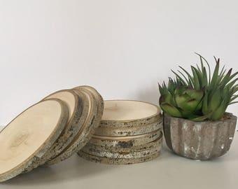 "Set of 10 (5-5.5"") Aspen Wood Slices - Large Wood Slices - Centerpieces - Wood Slab - Rustic Wedding Decor - Tree Slices - Wood Discs -"