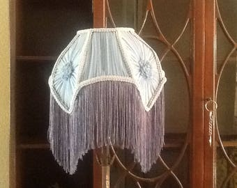 Victorian lamp shade, blue
