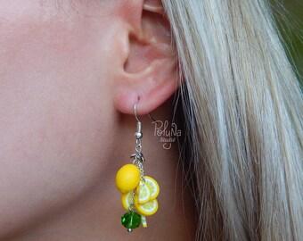 Yellow lemon slice earrings - citrus jewelry - Handmade jewelry - Fruit earrings - round yellow bijoux - Gift for her - food earrings