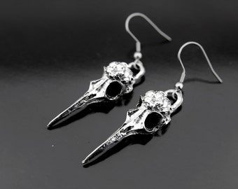 Raven Crow Skull Bird Earrings, Bird Skull Charm Dangle Earrings, Silver Skull Earrings, Skull Charm, Gothic Jewelry, Silver Earrings