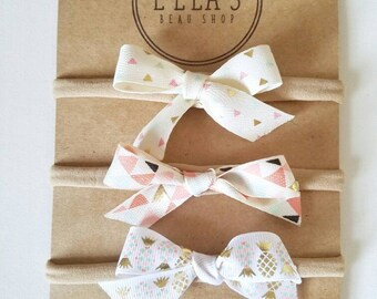 Itty bitty bow headbands, set of three!
