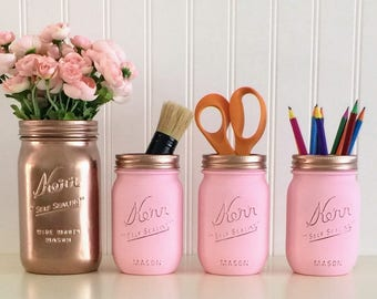 Makeup Organizer, Pencil Holder, Painted Mason Jars, Rose Gold Mason Jar, Desk Organizer, Rose Gold And Pink Desk Set, Bathroom Decor, Vase