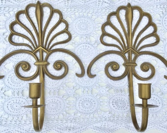 Vintage Wall Mount Brass Art Nouveau  Scroll Style Fan Candle Sconces. Wall Candlestick Holders.