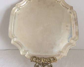 Vintage Meneses Spain Square Silver Plated Tray. Serving, Bar, Vanity & Decor.