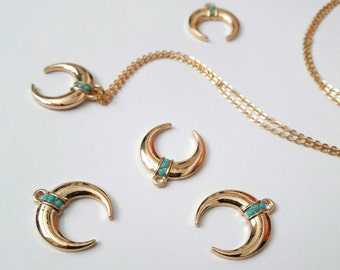 Gold horn necklace, double horn, crescent moon necklace, horn necklace, moon necklace, boho jewelry, tusk necklace, horn, turquoise