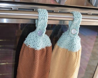 Neutral Duo Crochet Kitchen Hanging Towel