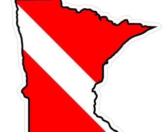 Minnesota State (Y24) Diver Down Flag Vinyl Decal Sticker Car Laptop/Netbook