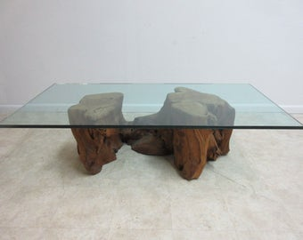 Vintage Mid Century Free Form Live Edge Log Tree Stump Floating Coffee Table