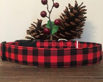 Dog Collar, buffalo plaid dog collar, buffalo plaid collar, red and black plaid dog collar, christmas plaid dog collar, friendship dog key
