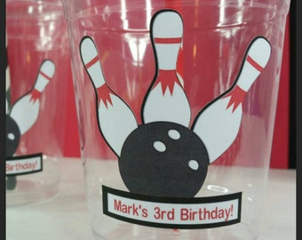 12 Personalized Bowling party Cups