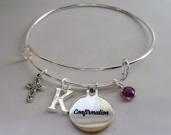 CONFIRMATION BANGLE W/  Cross  Adjustable Bangle W/ Swarovski Birthstone Crystal Drop / Initial charm - Bracelet  Gift For Her  FC1
