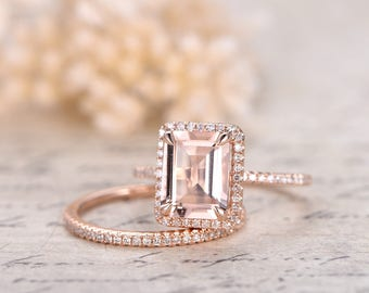 6x8mm Emerald Cut Morganite Ring Set Emerald Cut Engagement Ring and Diamond Wedding Band Bridal Ring Set 14K Rose Gold