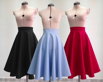 Vintage Style Skirt / High Waisted Skirt / Midi Skirt / Womens Skirts / Circle Skirt/ Flared Skirt