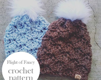Pattern / Flight of Fancy Crochet Pattern Slouchy/Fitted Beanie Hat Toque - Instant Download for The LUX PINECONE Beanie