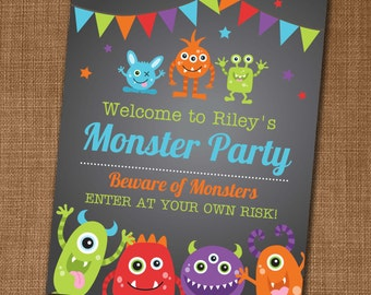 Monster Party Welcome Sign - Monster Party - Monster Birthday - Edit yourself at home!