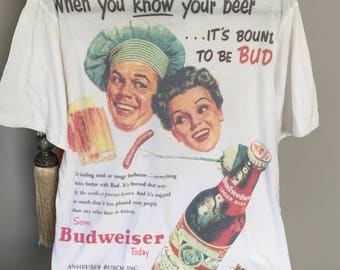 Budweiser Retro T shirt, Ex Cond. Size M Upcycled Tee, White Graphic T shirt  Beer Ad T shirt  50's Ad Tee Gift For Him Father's Day T shirt