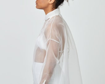 NEW Medusa, sheer and oversized blouse, 100% silk organza, One size SS17