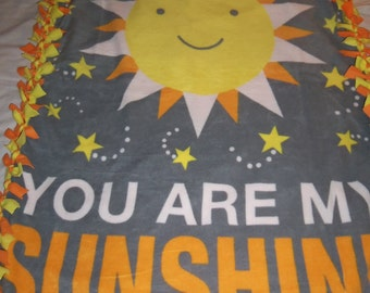 Brand New You Are My Sunshine Brighten My Day Double Sided Hand Tied Fleece Rag Blanket / Throw