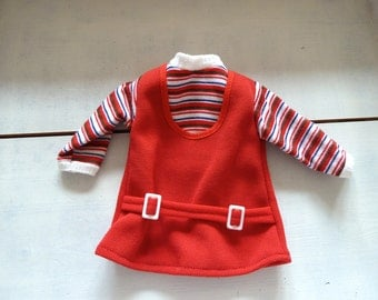 Red Puppenkleidchen vintage, 1970s, dress for dolls, dress for a white, red, blue striped, doll,