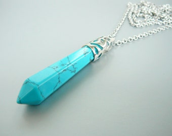Turquoise Necklace Turquoise pendant Long Necklace Long Crystal Necklace for women Necklace Blue Necklace Turquoise Stone Blue pendant