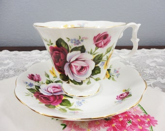 Royal Albert Rose Floral Bone China Teacup and Saucer - Pink, White and Yellow Roses