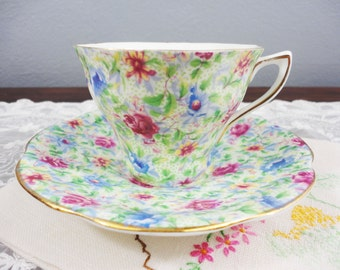 Rosina Light Chintz Floral Bone China Teacup and Saucer