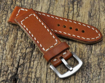 Leather Mens watch strap  22mm watch band Handmade
