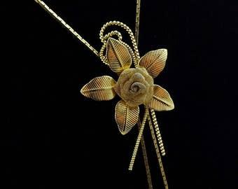 Vintage Bolo Chain Necklace Floral Rose