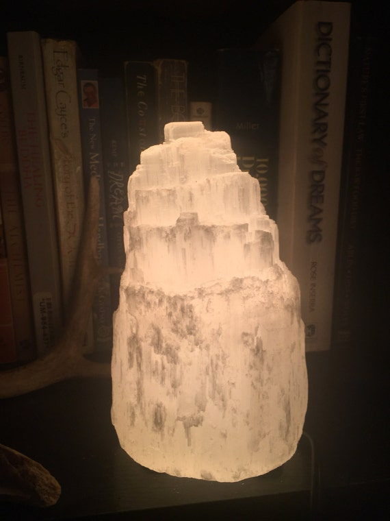 SELENITE lamp 6 crystal light fixture gift idea by diVineVibe