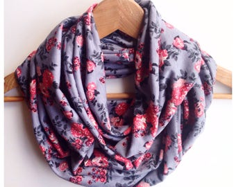 Womens infity scarf snood grey floral