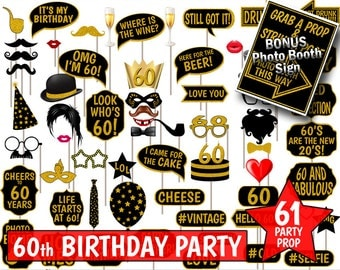 60th Birthday Party Printable Photo Booth Props. Black and Gold Glitter. Photobooth Selfies, Speech, Glasses, Hats, Ties, Lips, Mustaches.