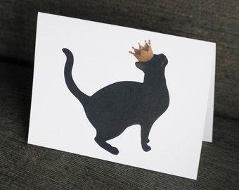 Black Cat with Crown Printable Card, Digital Black Cat Card, Printable Cat Card