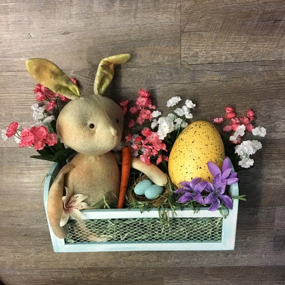 Handmade Rustic Bunny with Carrot, Egg and Floral Arrangement in Wire Grate Box