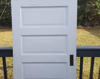 Old Wood Door, Interior Door, Building Supply, Architectural Salvage,  Farmhouse Remodel, Cottage, Reclaimed, 5 Panel Door, Solid Wood AF40