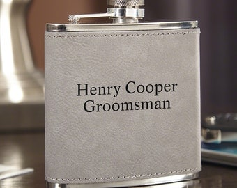 Personalized Slate Gray Hip Flask - Engraved with Personalized Text - Gift for Whiskey Lovers, Groomsmen, Liquor Flask for Executives
