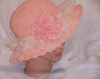 Girls Toddler Girls Easter Hat Easter bonnet Spring Hat Woven Mesh w/Flower