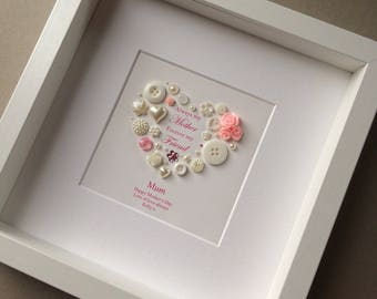 Button art, Mother Quote, Best Mum, Mother's Day gift, Gift for Mum, Gift for Grandma, Personalised Gift for Nanny, Framed art