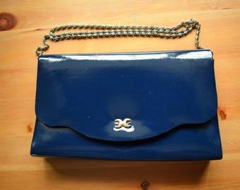 Vintage Debonair Freesian navy small clutch handbag with chain