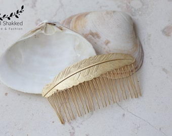 Gold Hair Comb Feather Hair Comb Gold Hair Accessory Wedding Hair Piece Grecian Hair Comb Grecian Hair Accessory Grecian Wedding Bridal Comb