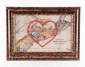 Nova Scotia Hand Embroidered Heart Map, Nova Scotia Map Print, Paper, Cotton Anniversary, Graduation Gift, Love, Engagement, Wedding Art