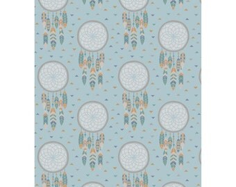 Crib Sheets-To Catch a Dream-Cotton Quilting Fabric-Lewis & Irene-Dreamcatcher-Gender Neutral-Fitted-Toddler Bed Sheet-Mini Crib Sheet