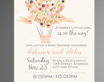 Hot Air Balloon Baby Shower Invitation, Up up and Away, Printable, Up up and Away Baby Shower Invitation - INSTANT DOWNLOAD